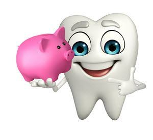 tooth holding piggy bank