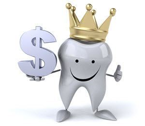 image of tooth wearing a crown and holding a dollar sign