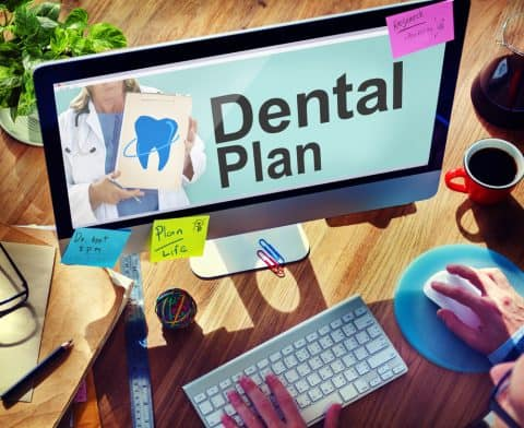 Computer screen showing dental plan